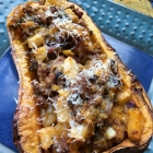Stuffed Butternut Squash with Apple, Sausage and Portobello