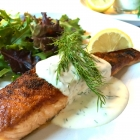 Pan-Seared Salmon with Creamy Greek Yogurt Lemon Dill Sauce