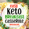 Keto Breakfast Casserole With Eggs, Bacon, Broccoli And Cheese
