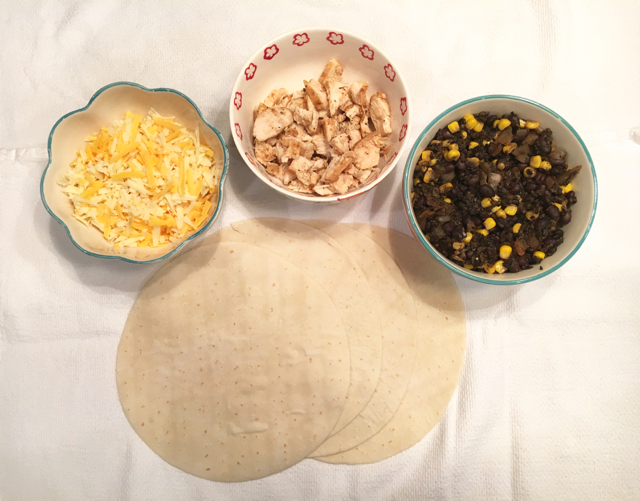 Chicken, Black Bean and Corn Quesadillas