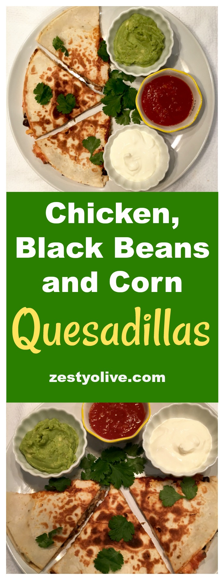 Easy, cheesy, Chicken, Black Bean and Corn Quesadillas are a tasty and quick meal that your kids and family will love!