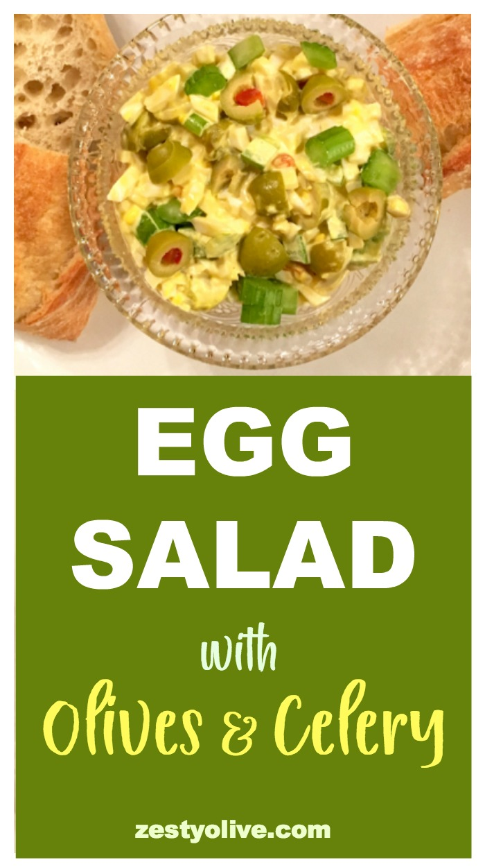 Here's a quick and tasty egg salad recipe that's sure to please the olive lover in you. I love how the crunch of the celery gives you a light, bright flavor while the green olives lend a bit of tartness to an overall egg-based dish. This egg salad with olives and celery recipe is simple to whip up!