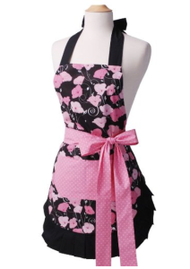 Pink and Black Cotton Apron