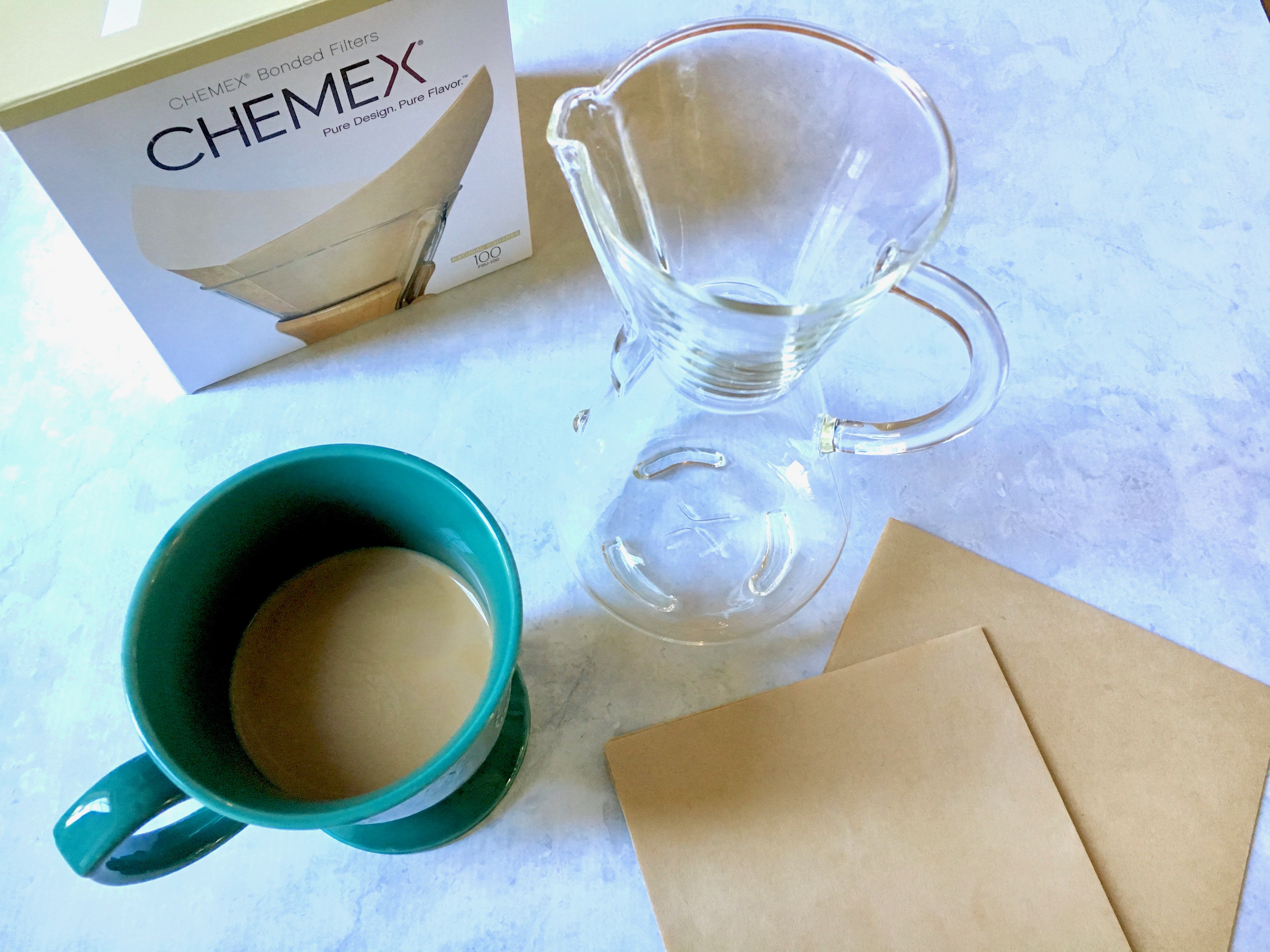 Chemex Pour Over Coffee Carafe And Filters