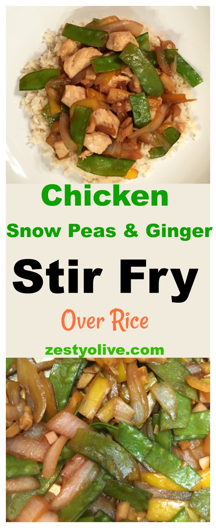 I love snow peas. I love ginger. Combine them with chicken, and you've got a delicious meal just waiting to be created: Chicken, Snow Peas and Ginger Stir Fry. I combined these, stir-fry and served over brown rice. If you happen to have leftovers, just warm them up the next day and enjoy again.