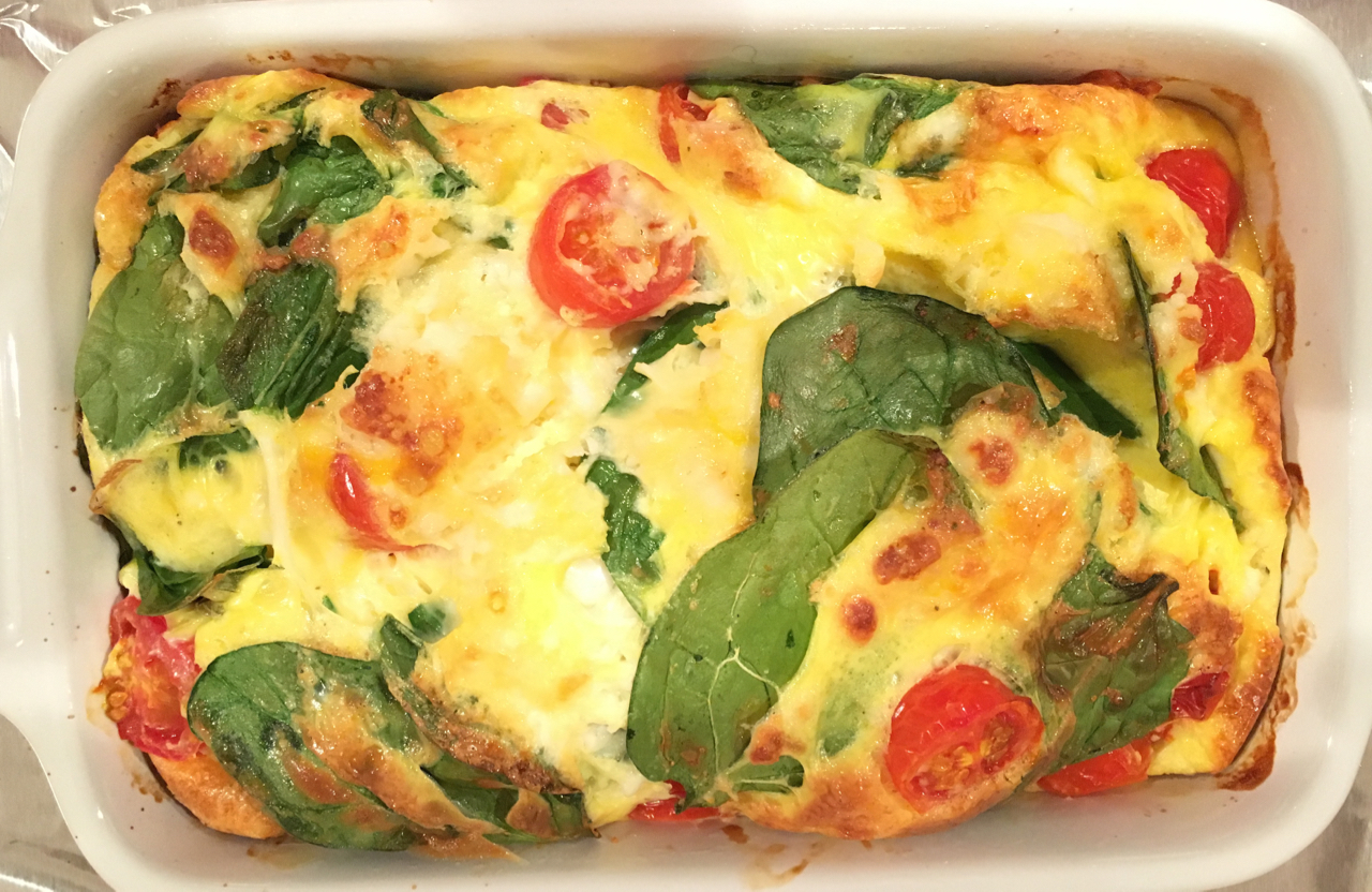 Spinach, Tomato And Feta Cheese Frittata For One