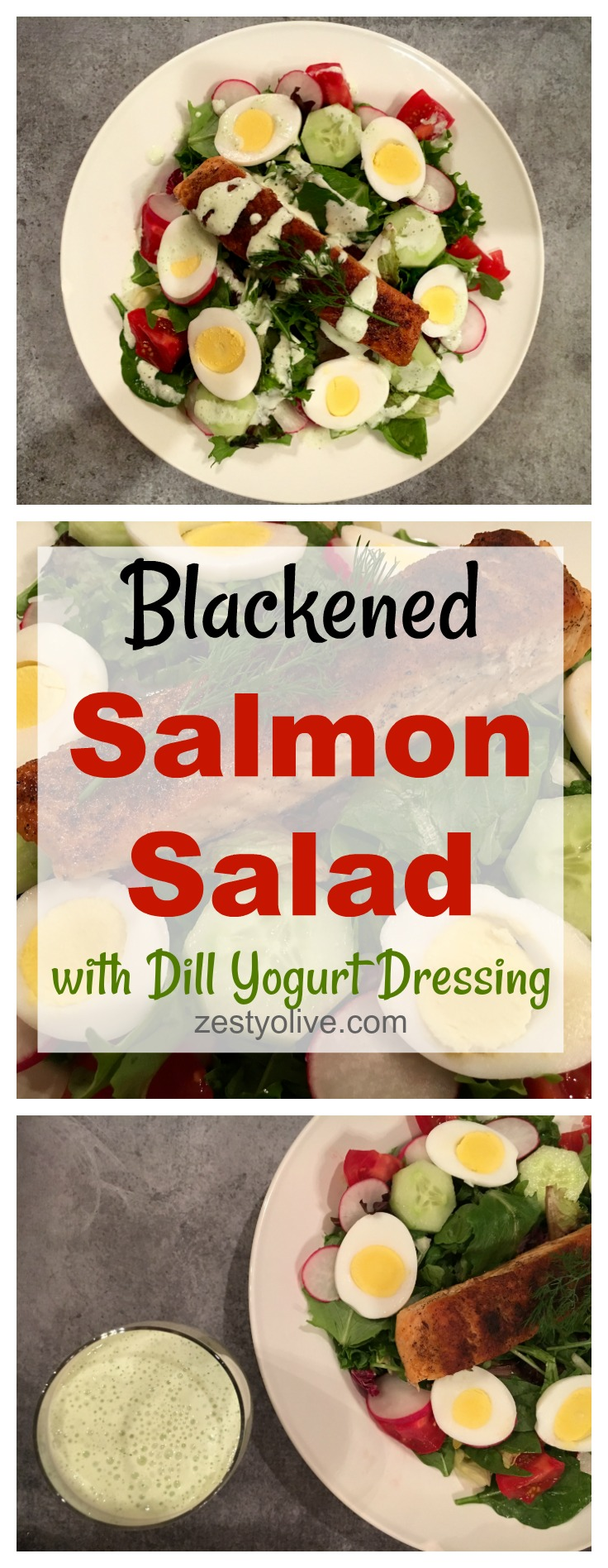 Blackened Salmon Salad with Dill Yogurt Dressing