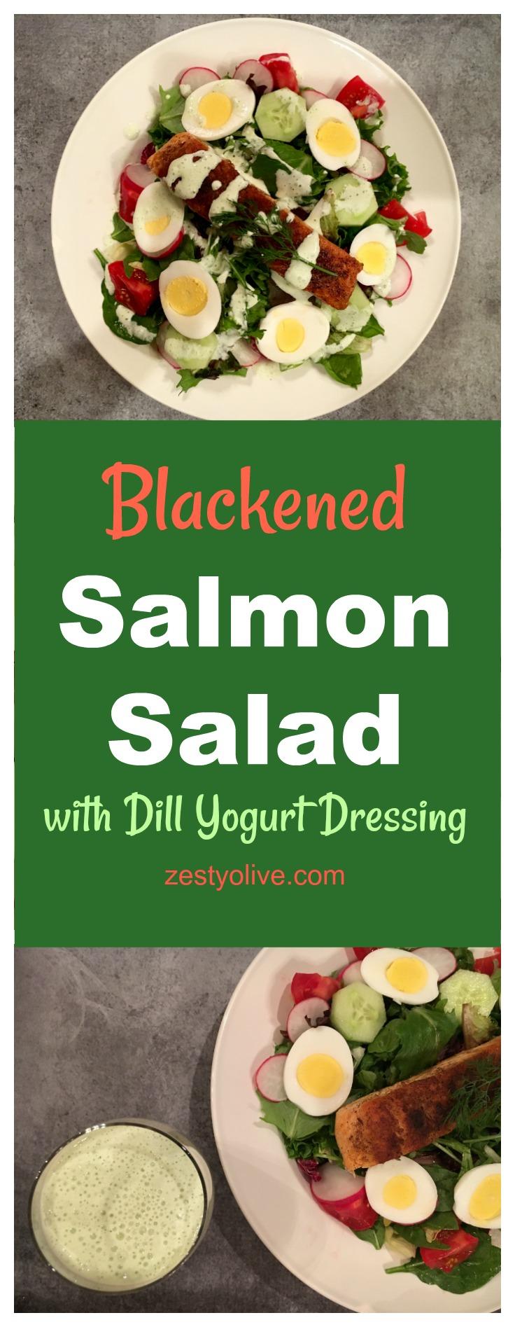 Blackened Salmon Salad with Dill Yogurt Dressing