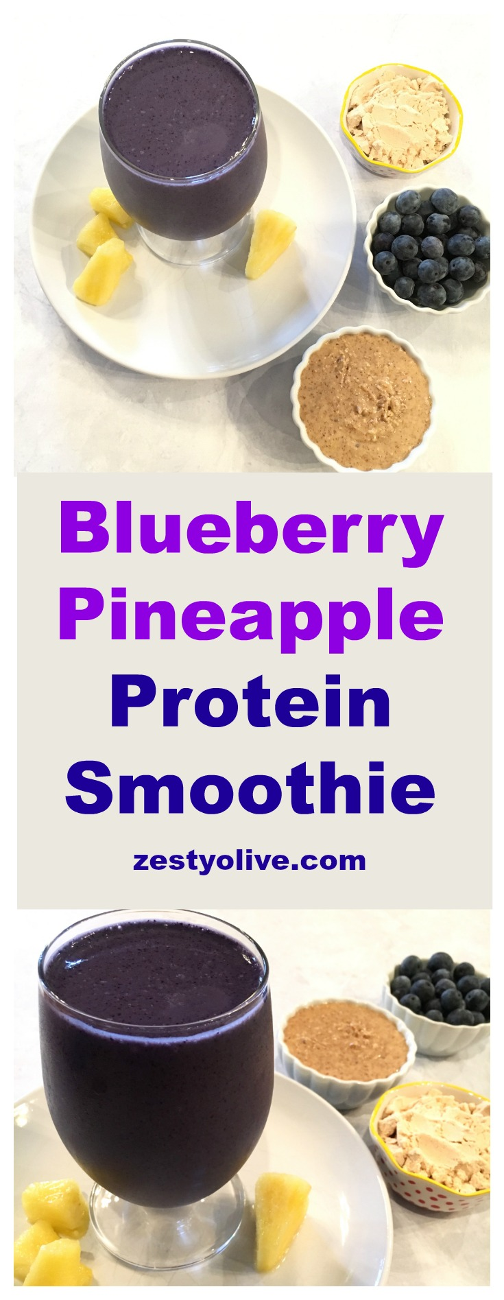 When blueberries are in season, this healthy Blueberry Pineapple Protein Smoothie is a favorite to make.