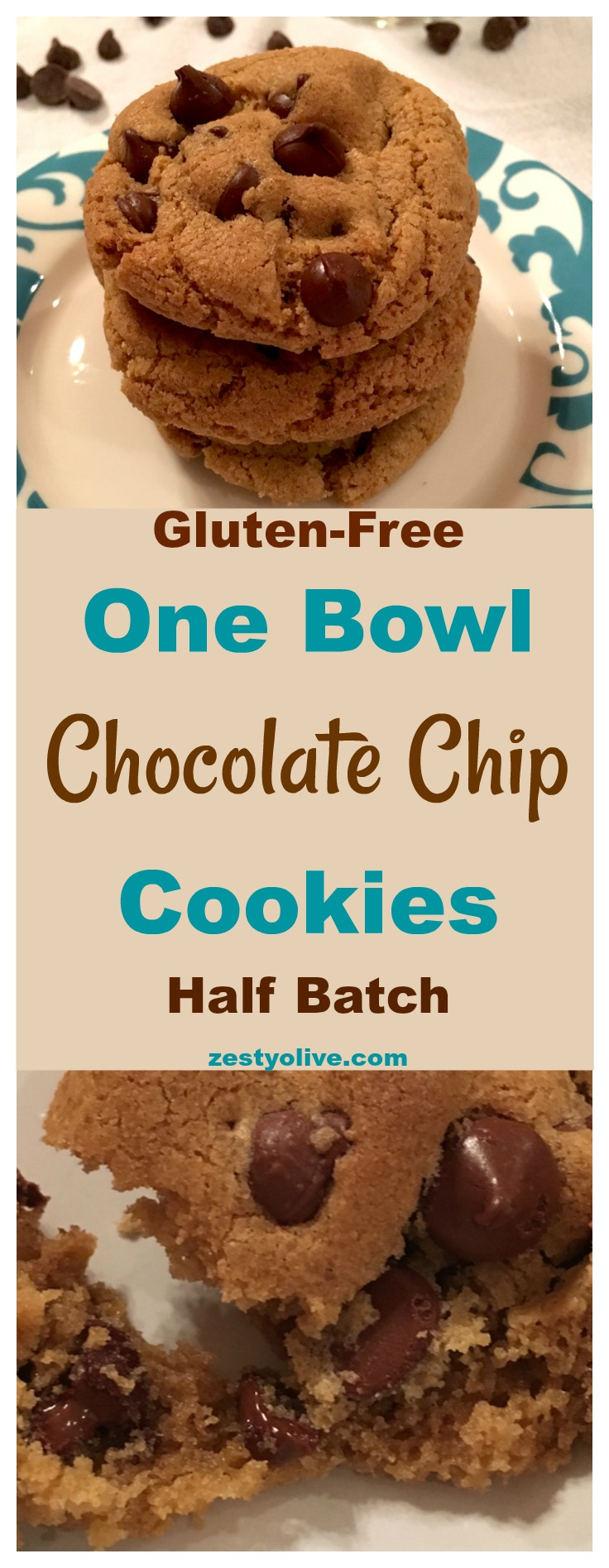 Easy Gluten-Free One Bowl Half Batch Chocolate Chip Cookies. Gooey and delicious - the best chocolate chip cookie recipe!