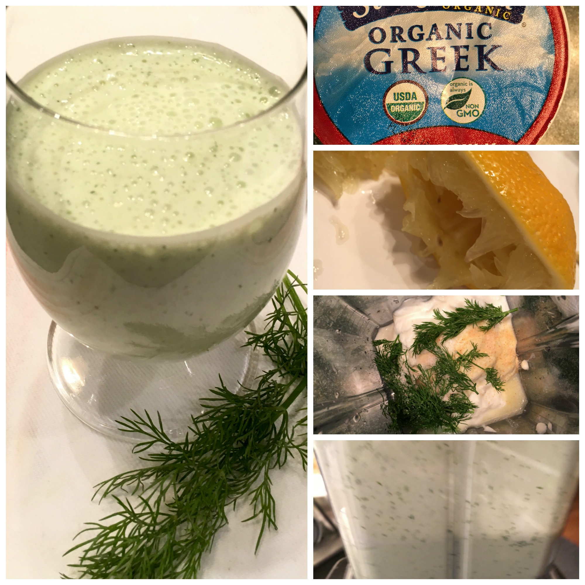 Greek Yogurt And Dill Salad Dressing Collage