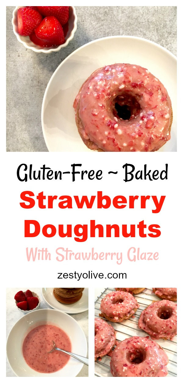 It's strawberry season and these gluten-free baked strawberry doughnuts with strawberry glaze were calling my name. They're super easy to make and are a healthy upgrade to the traditional doughnut. Check them out!