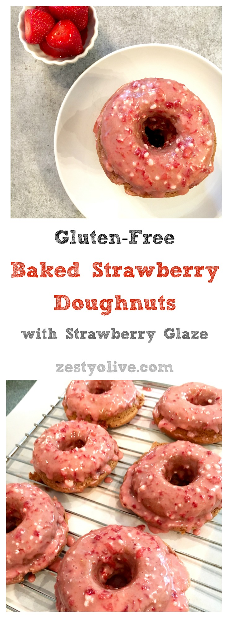 Gluten Free Baked Strawberry Doughnuts