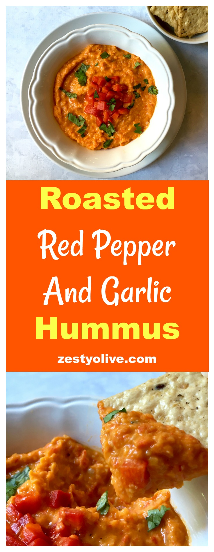 Roasted Red Pepper And Garlic Hummus - a quick and easy appetizer dip for hummus lovers!