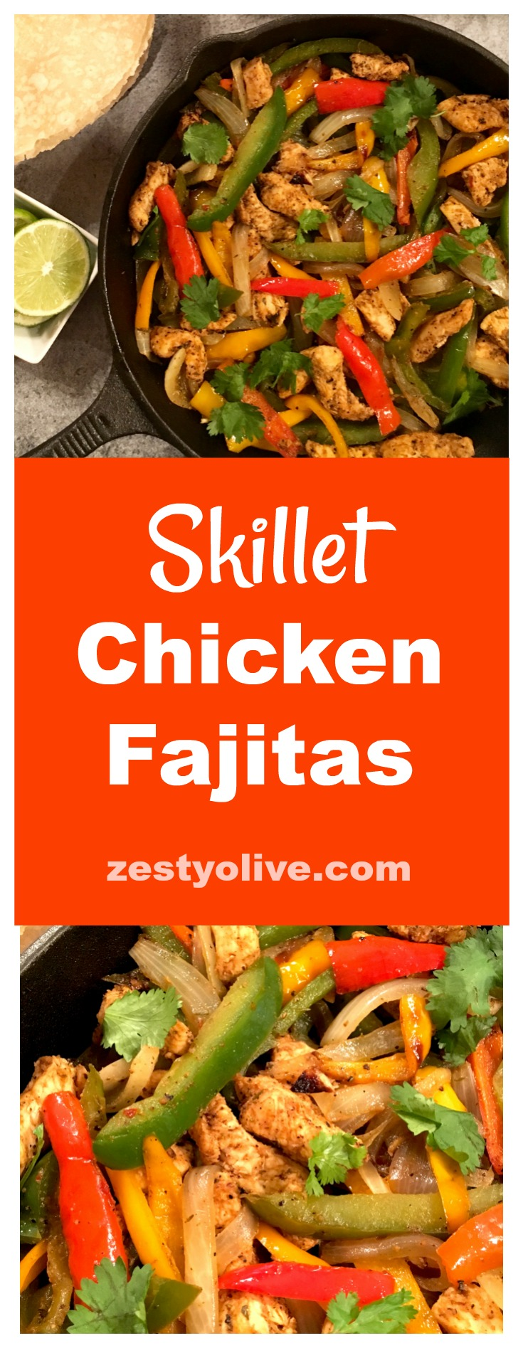 Here's my take on easy, zesty, skillet chicken fajitas, sizzled to perfection in a cast iron skillet.
