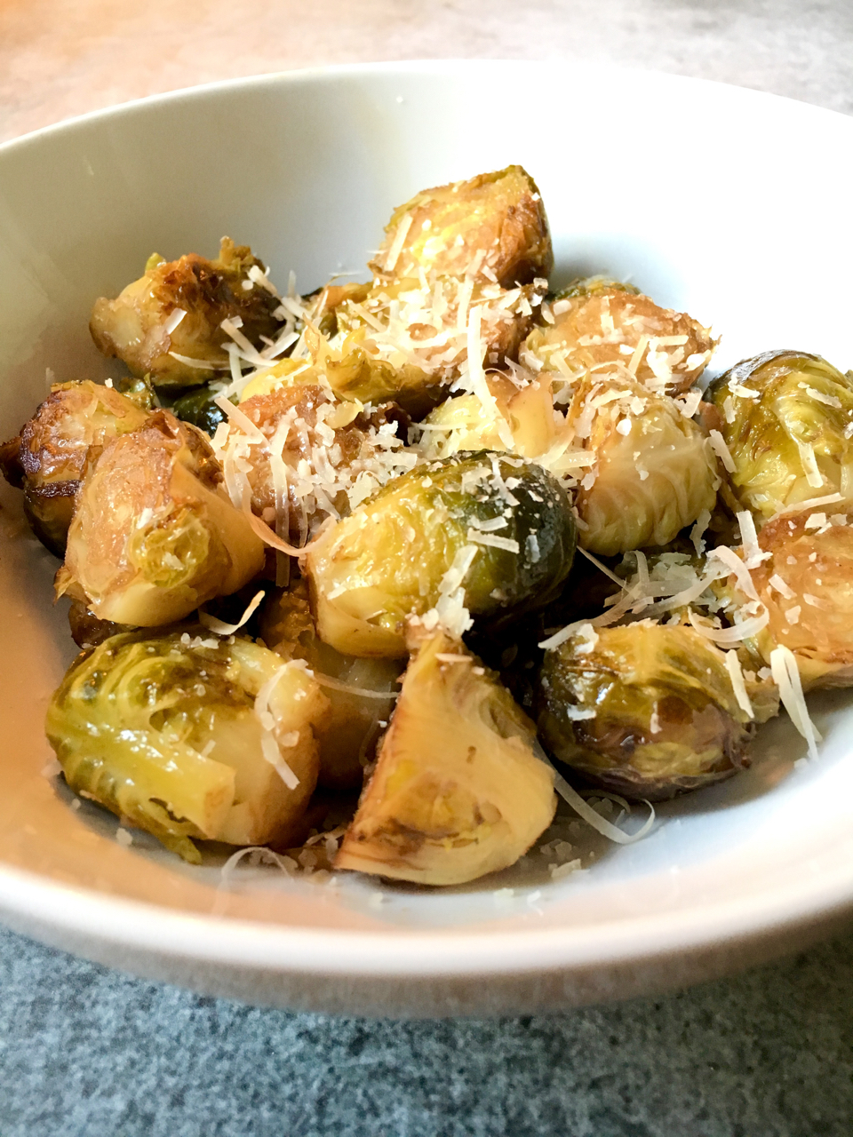 Roasted Brussels Sprouts With Balsamic Vinegar and Parmesan Cheese