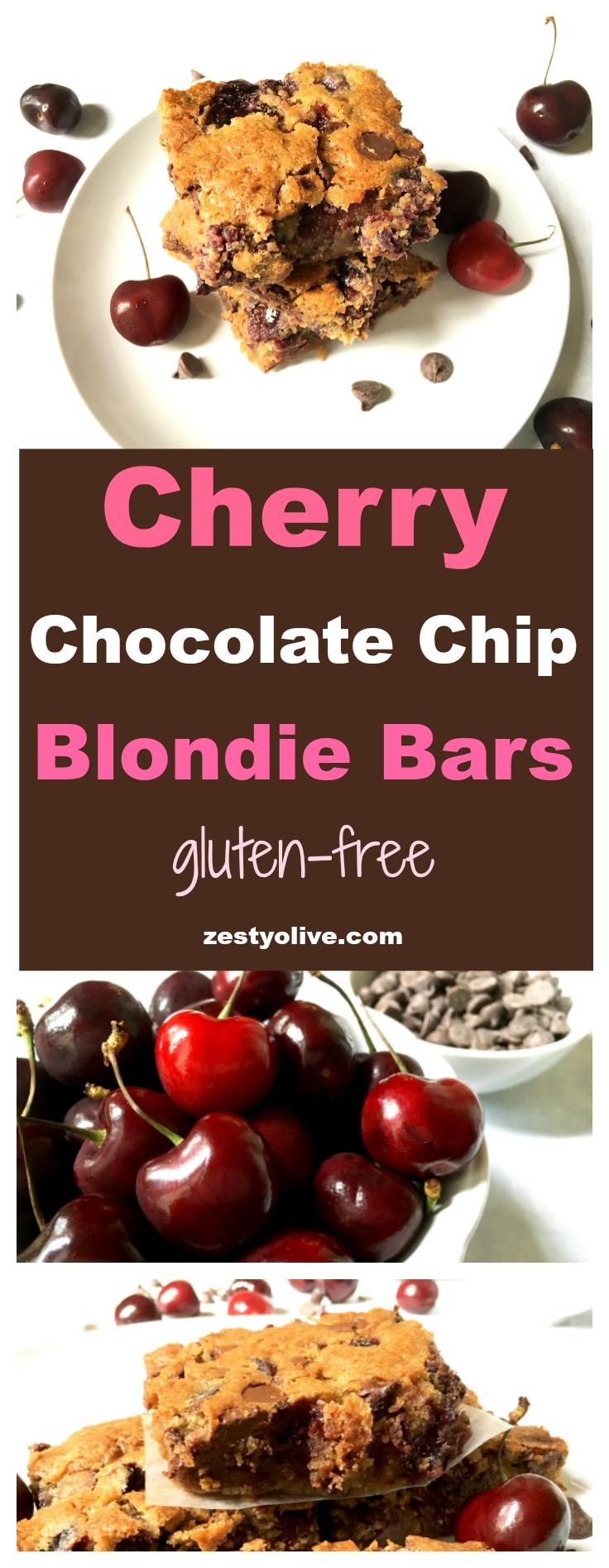 Cherry Chocolate Chip Blondie Bars (Gluten-Free) * Zesty ...