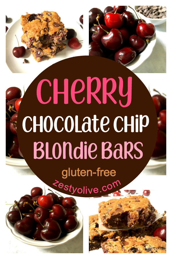 The warm, melty chocolate and sweet cherry flavor make these easy Cherry Chocolate Chip Blondie Bars a family favorite. Gluten-free version included.