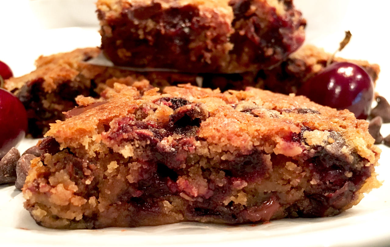 Cherry Chocolate Chip Blondie Bars