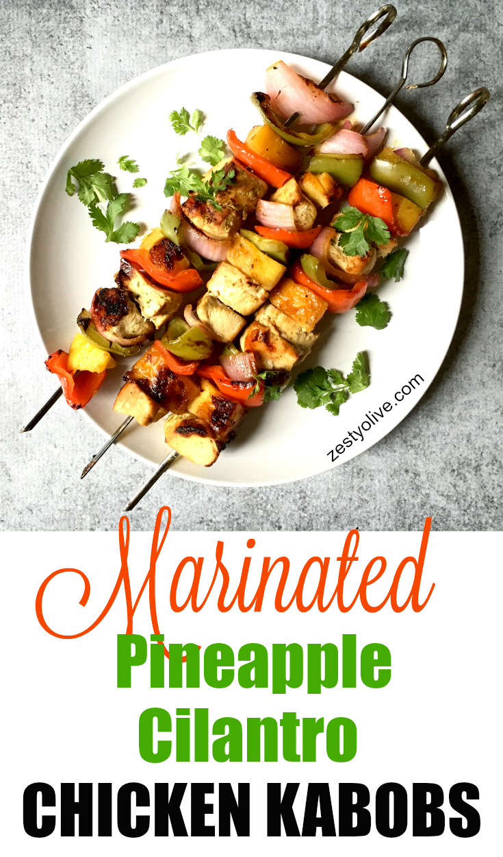 Marinated Pineapple Cilantro Chicken Kabobs are a tasty and healthy way to grill some meat and veggies with a side of fruit!