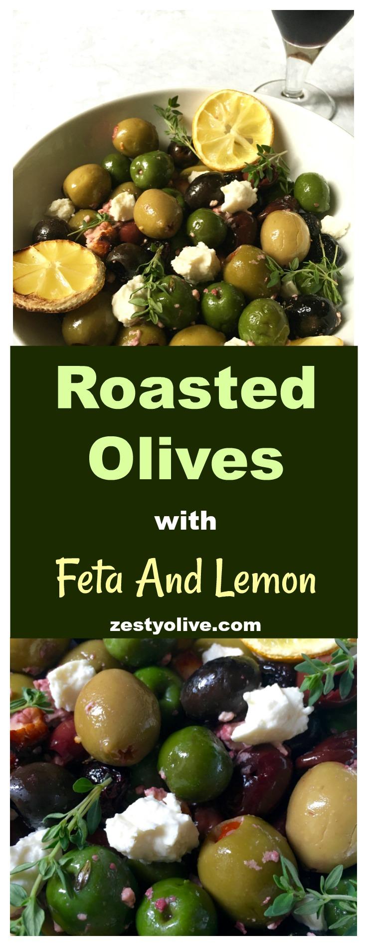 Roasted Olives with Feta and Lemon