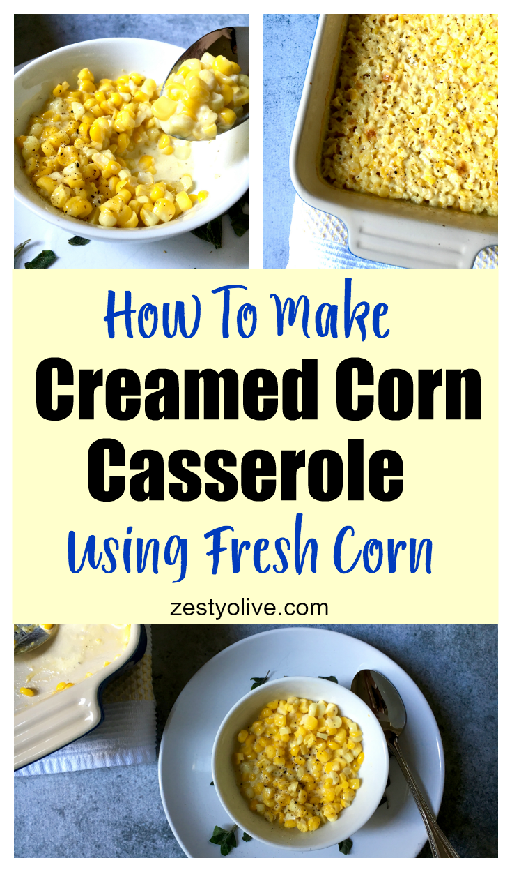 Here my easy recipe for how to make a creamed corn casserole using fresh corn off the cob.