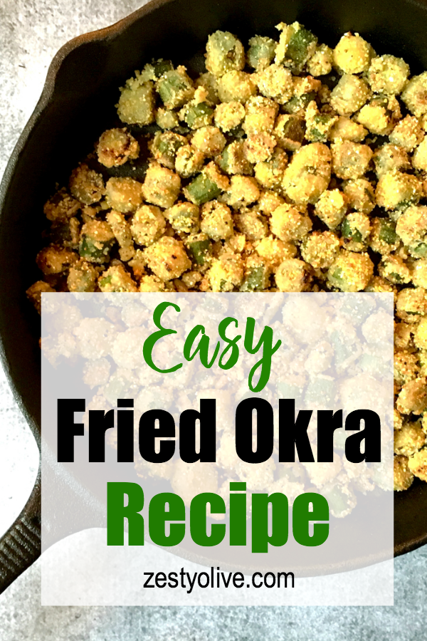 Here's my simple recipe for fried okra, a classic southern side dish, made in a cast-iron skillet!