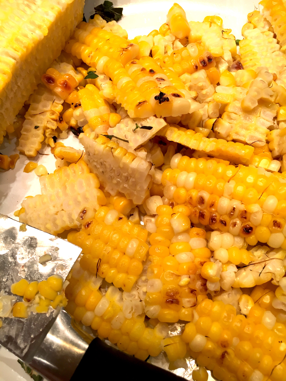 Grilled corn off the cob