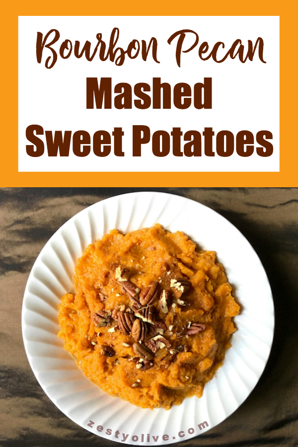 These Bourbon Pecan Mashed Sweet Potatoes are sure to be a favorite for your fall holidays and beyond.