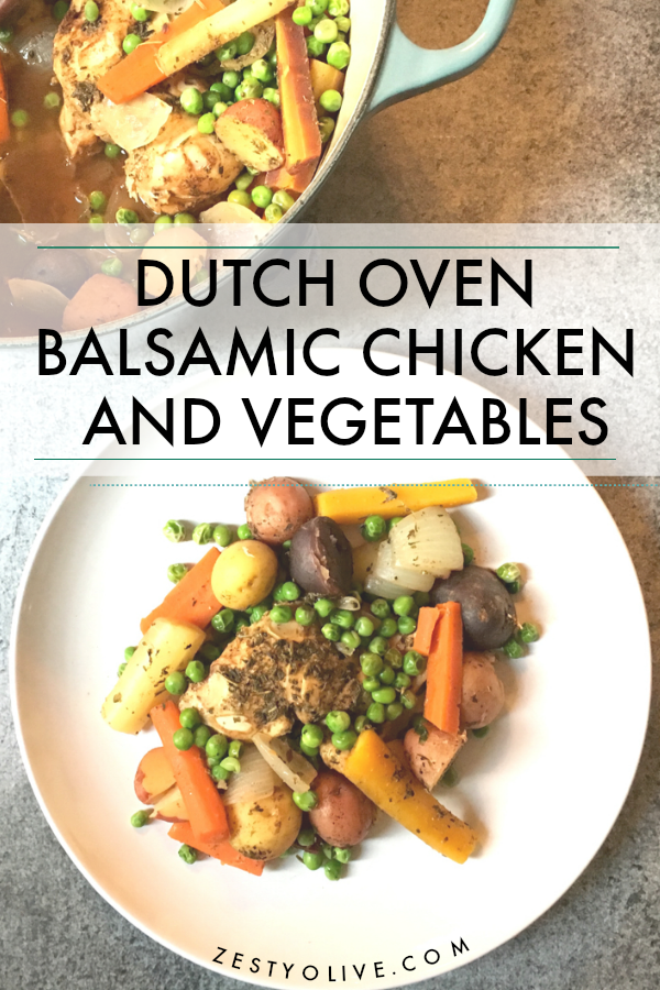 Savory Dutch Oven Balsamic Chicken And Vegetables are a fall and winter favorite!