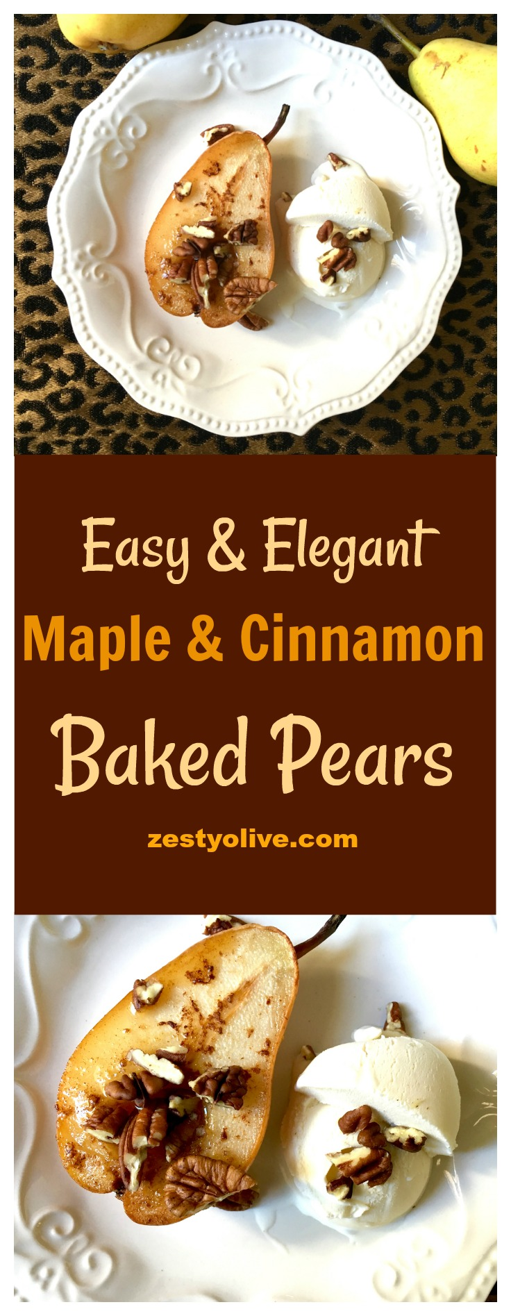 Maple and Cinnamon Baked Pears