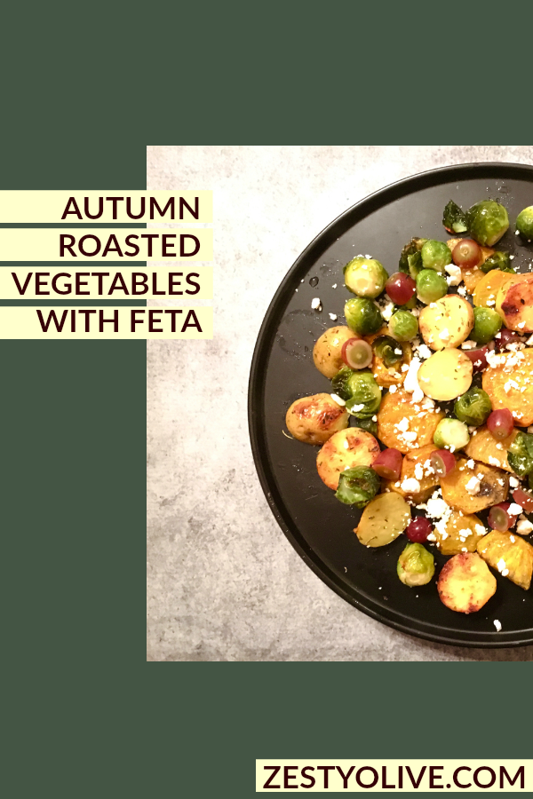 Autumn Roasted Vegetables with Feta Cheese and Red Grapes makes a beautiful warm salad or side item. It's easy, healthy, naturally gluten-free and tastes amazing.