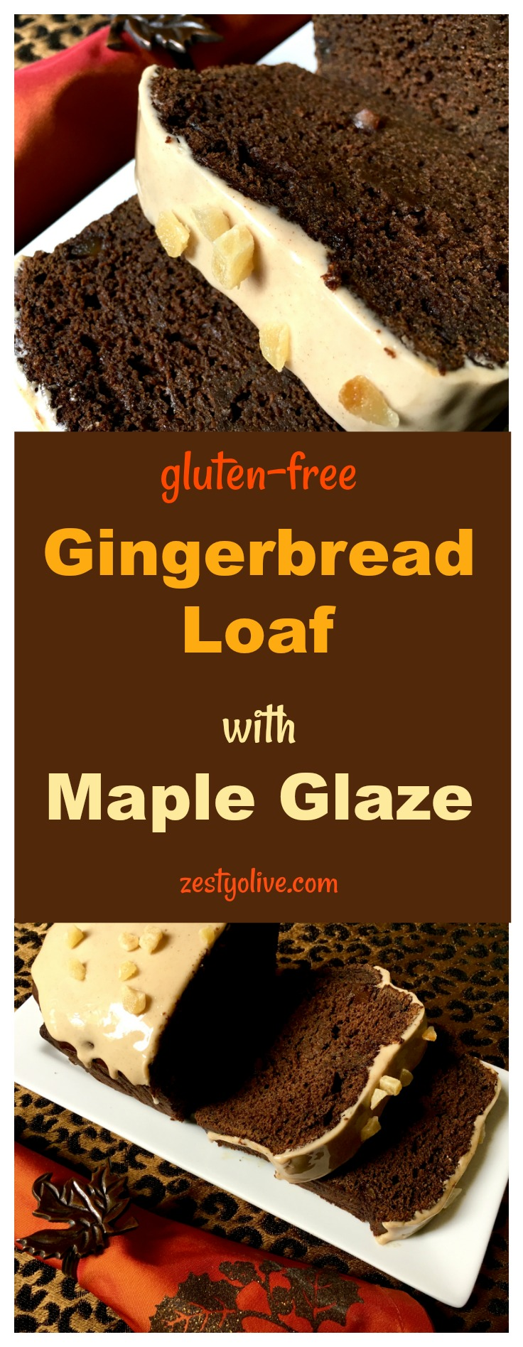 This gluten-free Gingerbread Loaf With Maple Glaze is full of rich molasses and ginger and topped with a maple glaze for a touch of sweetness.