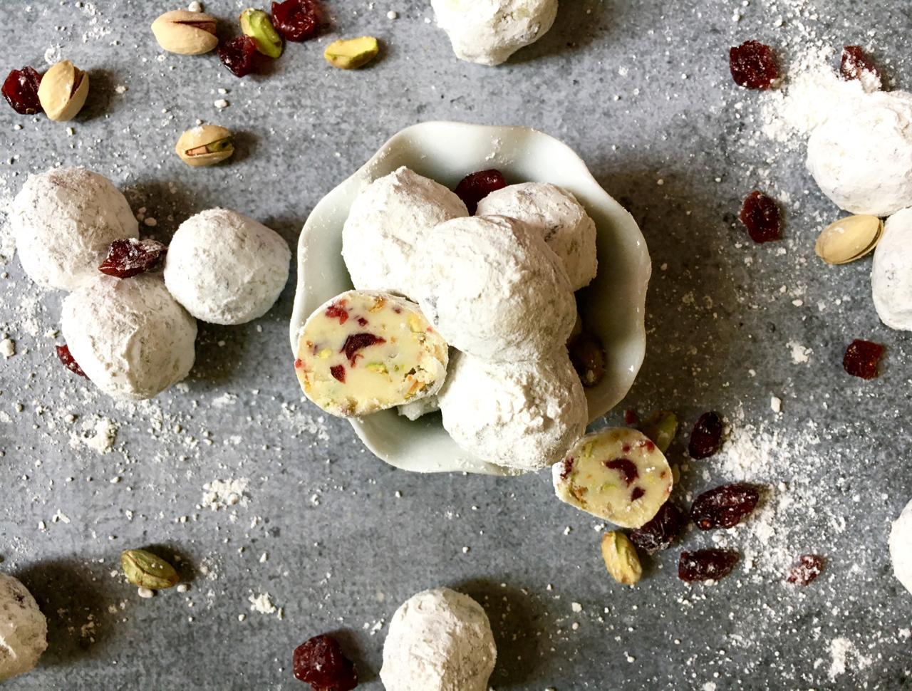White Chocolate Cranberry Pistachio Snowflake Truffles