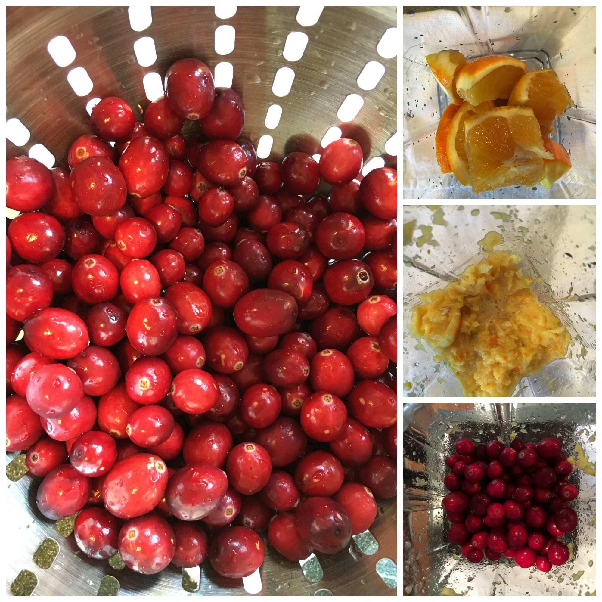 Cranberry orange relish collage