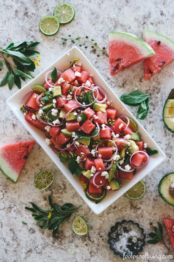 Watermelon Avocado Mint Salad with Feta