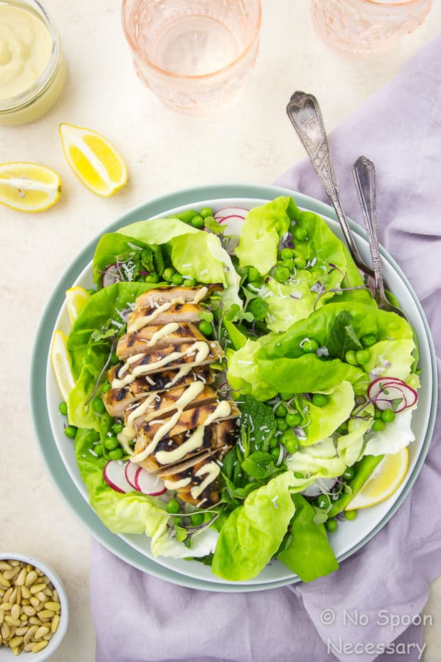 Grilled Honey Chicken and Pea Salad