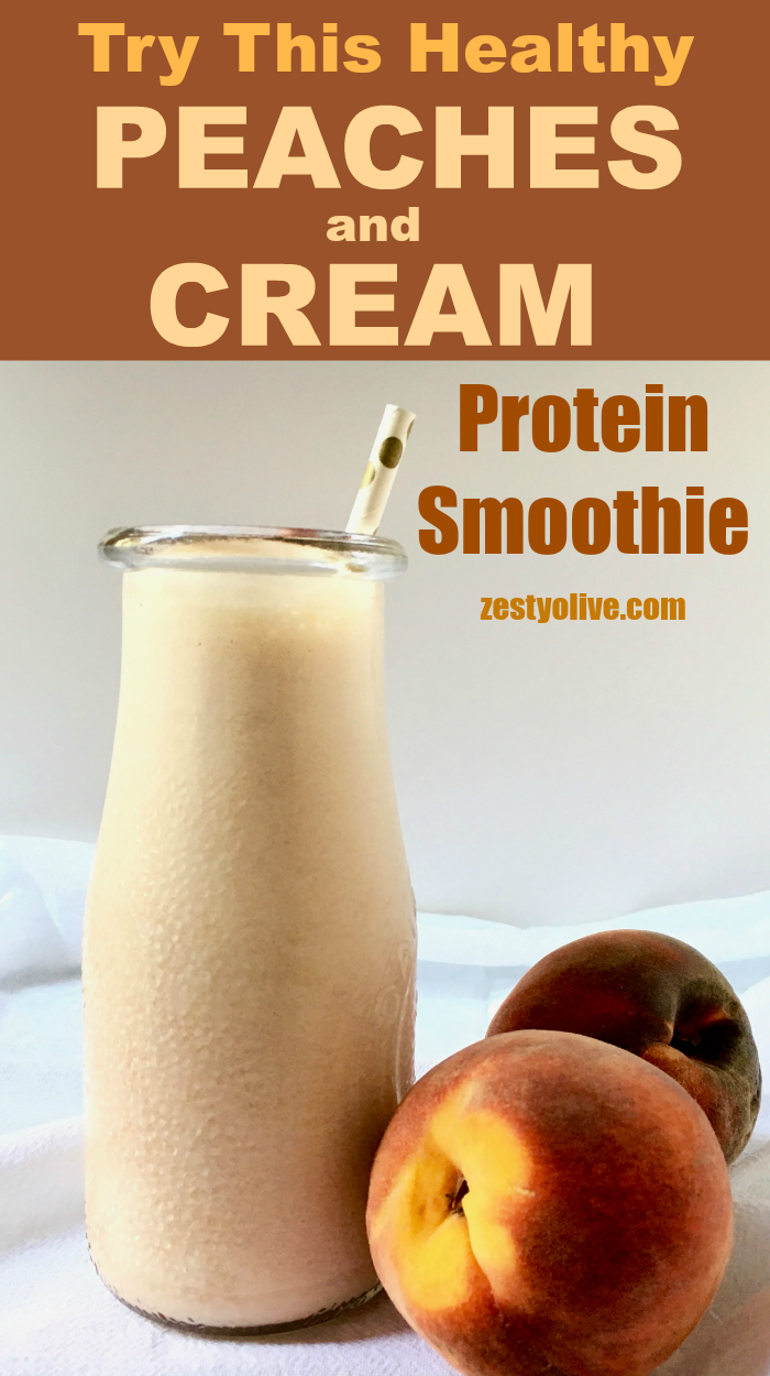 My Peaches And Cream Protein Smoothie is a dairy-free way to enjoy this delicious summer flavor combination.
