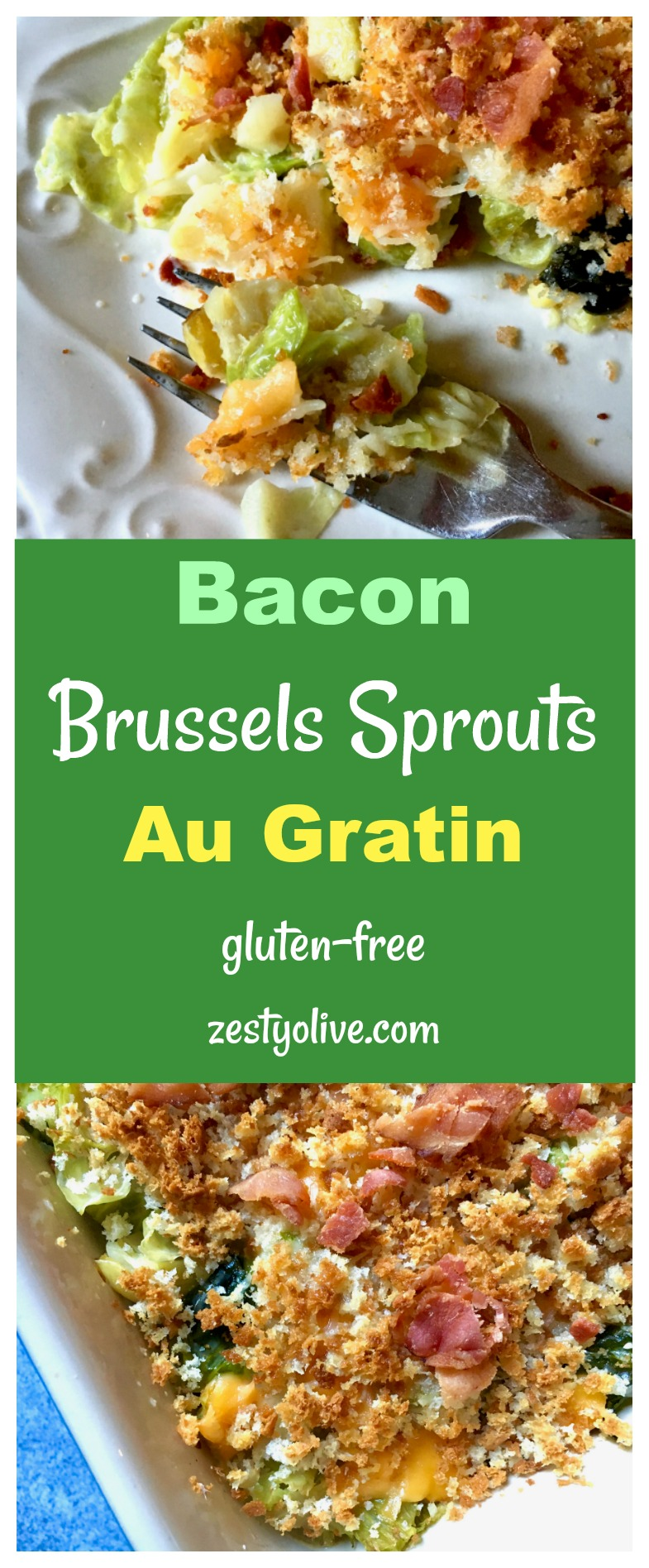 Bacon Brussels Sprouts Au Gratin makes a perfect holiday side dish for Thanksgiving and Christmas. This zesty recipe combines Brussels sprouts with two cheeses, bacon, garlic, yummy cream and a topping of breadcrumbs, which can be gluten-free if you need it to be!