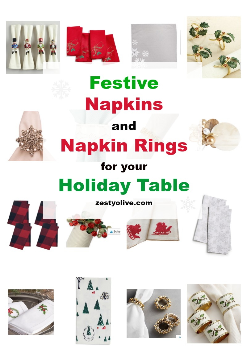 Festive Napkins and Napkin Rings For Your Holiday Table Decor