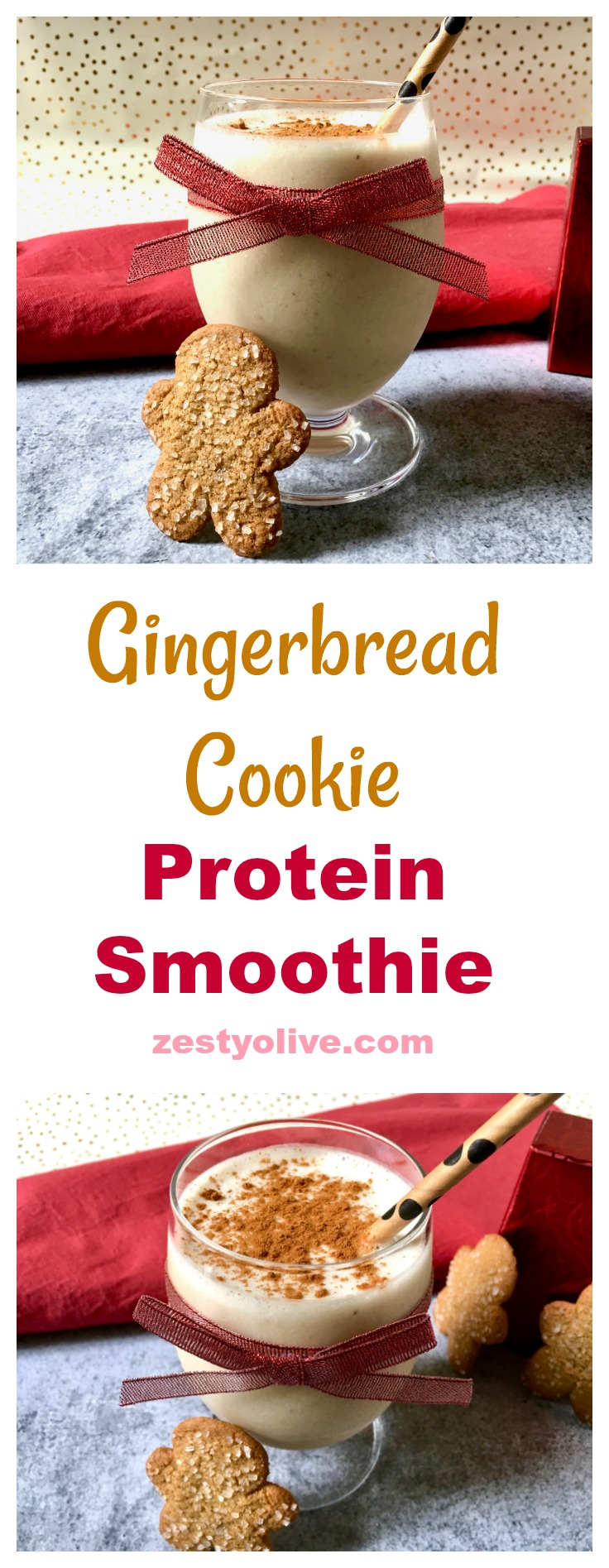 Classic holiday spices enhance and flavor this Healthy Gingerbread Protein Smoothie.