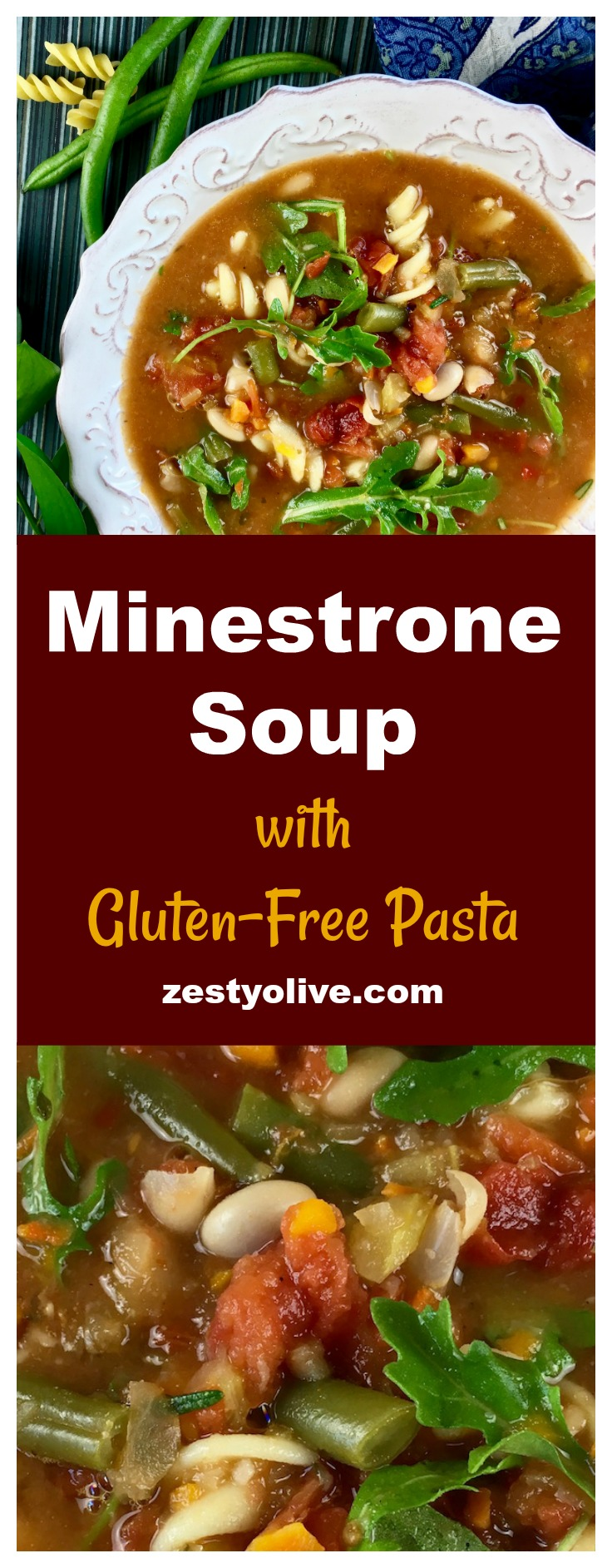 This hearty Italian Minestrone Soup With Gluten Free Pasta is full of healthy veggies and zesty herbs.