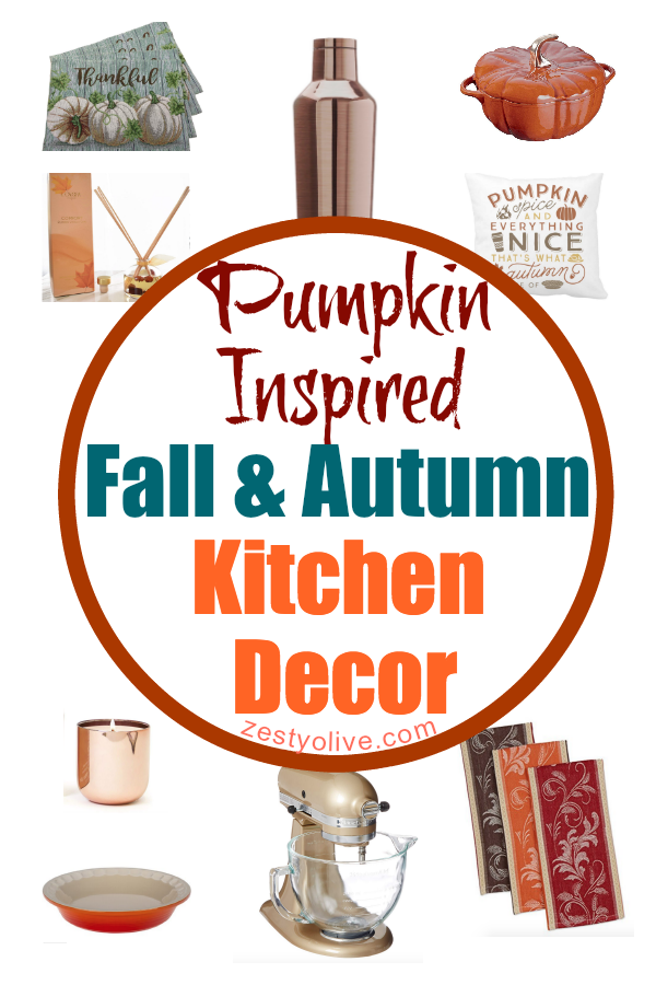 Do you decorate your kitchen and home for the fall season? If so, check out these Pumpkin Inspired Fall And Autumn Kitchen Decor Finds!