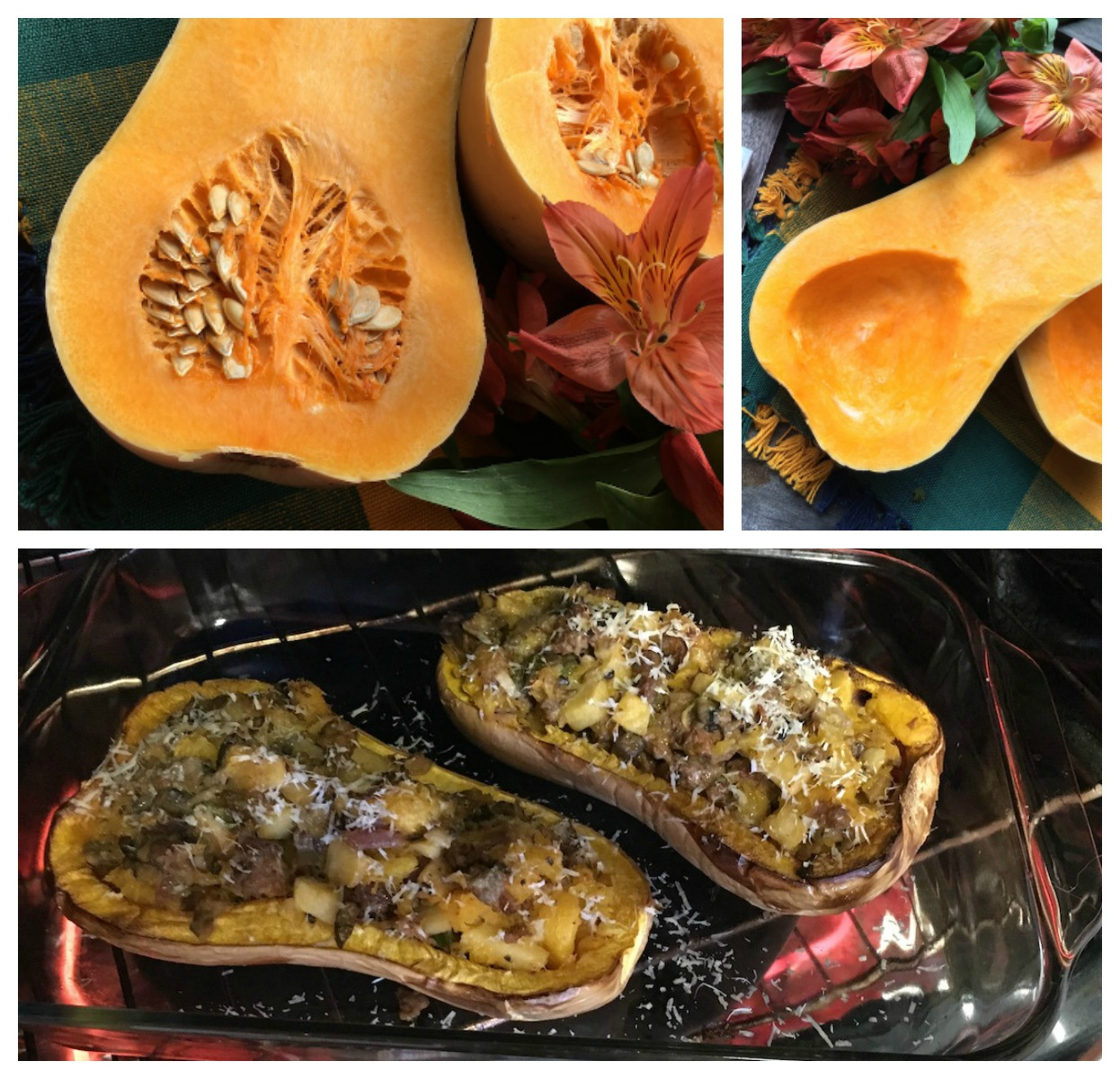 Stuffed Butternut Squash with Apple, Sausage and Portobello collage