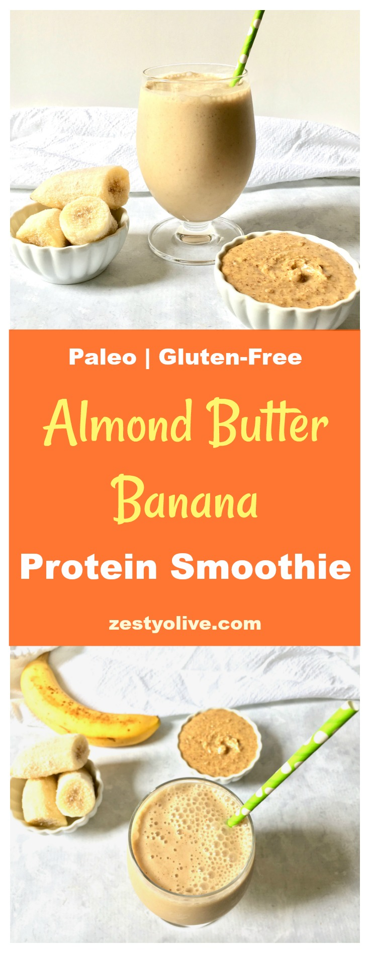 This Almond Butter and Banana Protein Smoothie is healthy, paleo and gluten-free.