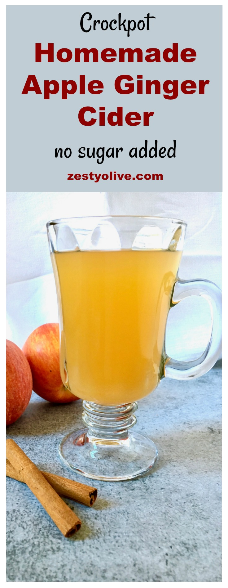 This Easy Homemade Apple Ginger Cider Recipe with no added sugar will fill your home with aromas of the season: apple, orange, ginger, cinnamon and cloves, while it simmers in your crock pot.