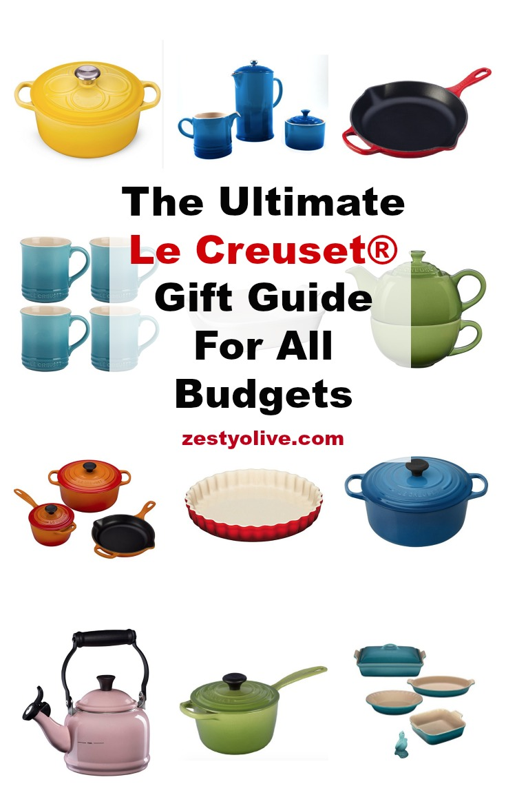 Le Creuset® enameled cast-iron cookware is hand-made in France and is known world-wide for its superior performance and durability in the kitchen. To own a Le Creuset® piece is to own an investment piece, but this guide will help you find a piece that fits within your budget! Le Creuset® is coveted by cooks and bakers, so don't let price stop you - you'll definitely find something for you or your gift recipient in this guide. #lecreuset #giftguide #holiday #shopping #cooking #baking #recipes #cookware