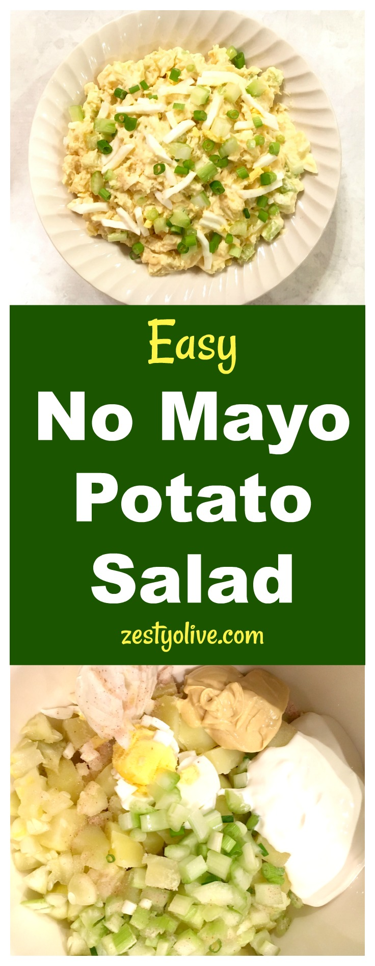 ThisEasy No Mayo Potato Salad Recipe is will become a favorite at your next picnic, BBQ or potluck. This potato salad is elevated by the spicy addition of Dijon mustard. Sour cream replaces the mayonnaise and the addition of egg, celery, green onions and dill pickle make this a zesty potato salad worthy of your next gathering.