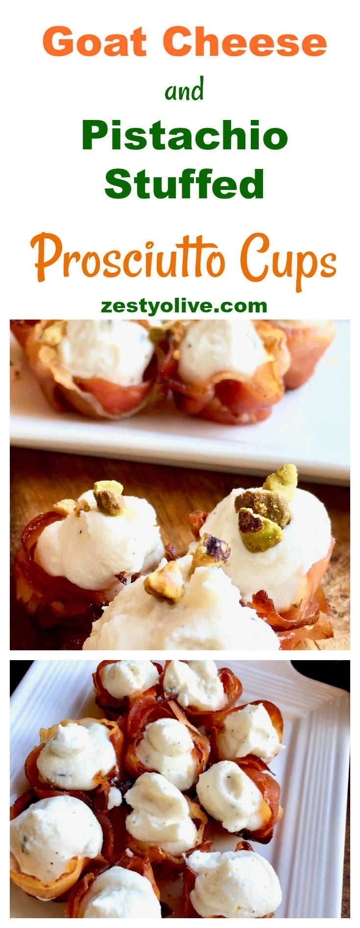 Impress your guests with this elegant, yet easy appetizer of whipped goat cheese stuffed prosciutto cups topped with crushed pistachios.