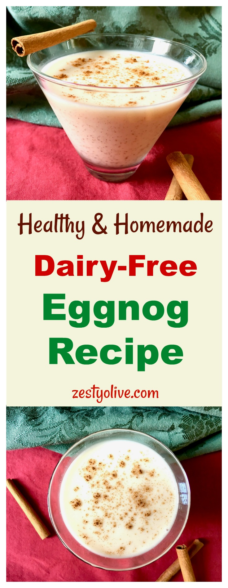 Here's my take on the holiday classic beverage, eggnog. It's my Healthy Homemade Dairy-Free Eggnog Recipe made with coconut milk, organic ingredients and no refined sugar.